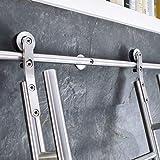Herraje para Puerta Corredera Kit Biblioteca de escalera corrediza 3.3ft-20ft Juego completo de riel rodante de hardware (sin escalera), riel de escalera móvil de tubo redondo de acero inoxidable para