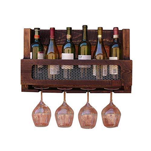 YAeele Soporte de Pared Estilo Americano Estante del Vino Cremallera de una Pieza del Estante de Madera del Vino, Copa de Vino Colgador y sostenedor del Estante de la Cocina/Bar