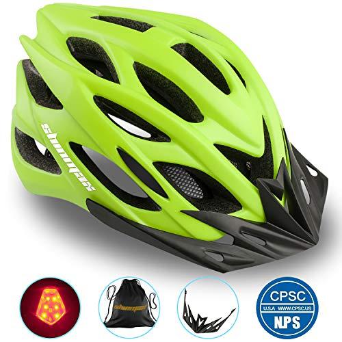 Shinmax Fahrradhelm mit LED-Licht, A-Best Specialized Cycle Helm mit Sicherheitsleuchte Super Light Integrally Bike Helm Adult Bike Helm mit Abnehmbarem Visier und Liner