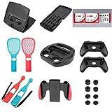Alloet Accessories Kit for Nintend Switch Games Steering Wheel Grip Tennis Racket