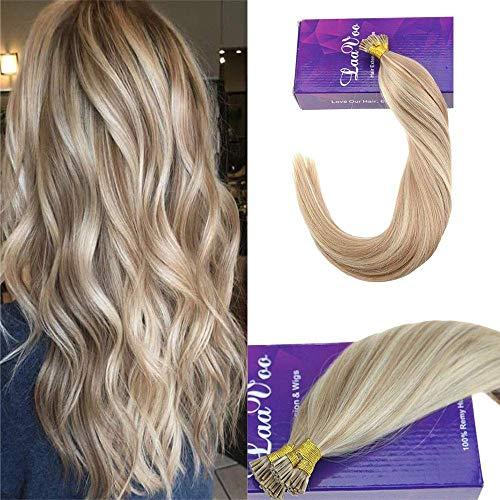 LaaVoo I Tip Extensions de Cheveux 7A Grade 16 Pouce #P18/613 Blond Cendré Highlights Bleach Blonde Keratin Tipped Human Hair Extensions 50 Mèches 1g/mèche
