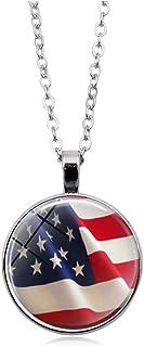 إيسين الأزياء الأمريكية العلم جولة قلادة قلادة قلادة العلم الوطني الولايات المتحدة الأمريكية للرجال النساء قلادة المجوهرات