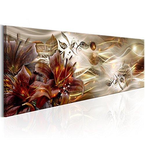 murando Acrylglasbild Blumen 120x40 cm Wandbild auf Acryl Glas Bilder Kunstdruck Moderne Wanddekoration - Lilien Abstrakt Ornament a-C-0063-k-c
