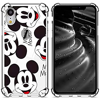 DISNEY COLLECTION Clear Case for iPhone Xr, Mickey Hard PC Back Soft TPU Soft Edges Cover with 4 Air-Cushion Corner Slim Thin Protective Cover for iPhone Xr 6.1 inch