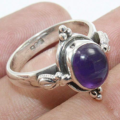 Oval Cabochon Amethyst Ring & 925 Sterling Silver Ring for Women, Statement Rings