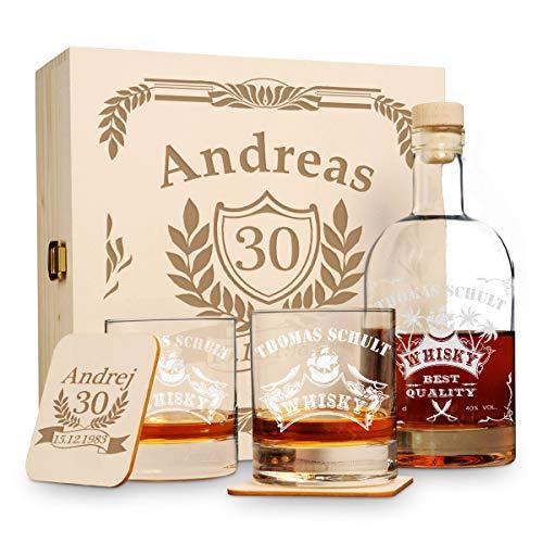 polar-effekt 6 TLG Geschenk-Set in Holzkiste mit Gravur - 2 Whiskygläser, 2 Untersetzer und Whisky-Karaffe in Geschenk-Box - Personalisiert zum Geburtstag - Motiv Jubiläum
