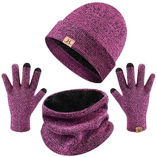 Tuopuda Unisex Wintermütze Touchscreen Handschuhe mit Beanie und Winterschal, Rosa, Einheitsgröße