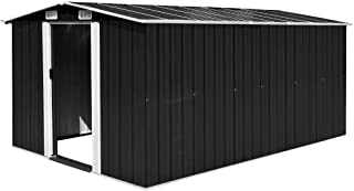 Tidyard Abri à Outil Abri de Jardin en Acier Galvanisé Construction Solide Anthracite 257 x 398 x 178 cm