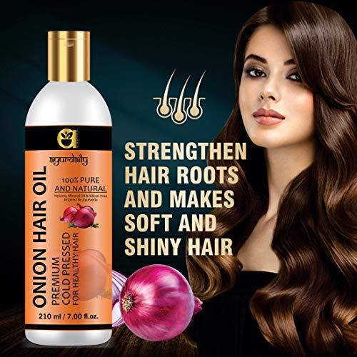 Ayurdaily Herbal Onion Hair Oil - for Help Hair Growth & Hair Fall Control - 210ML