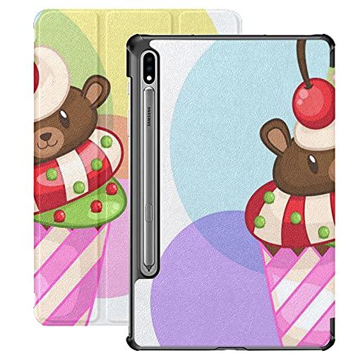Funda para Galaxy Tab S7 Funda Delgada y Liviana con Soporte Funda para Samsung Funda para Galaxy Tab S7 Tablet 11 Pulgadas Sm-t870 Sm-t875 Sm-t878 2020 Release, Cute Bear Cupcakes