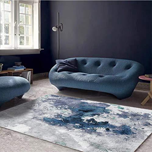 Alfombra Abstracta Moderna Con Patrón De Pintura Al Óleo, Alfombra Gris Azul Para Sala De Estar, Alfombra Antideslizante Para Balcón, 140 * 200 Cm