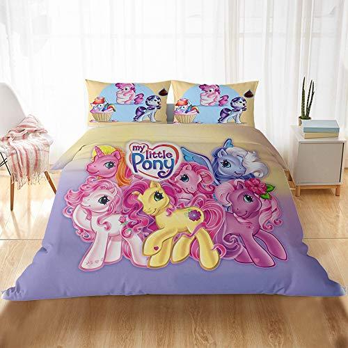 DFTY My Little Pony Party Rotary Print Bettbezug-Set, Kinderbettwäsche, Polyester-Faser Bettbezug Set Und 1/2 Kissenbezug, für Jungen und Mädchen (1,220 * 240CM)