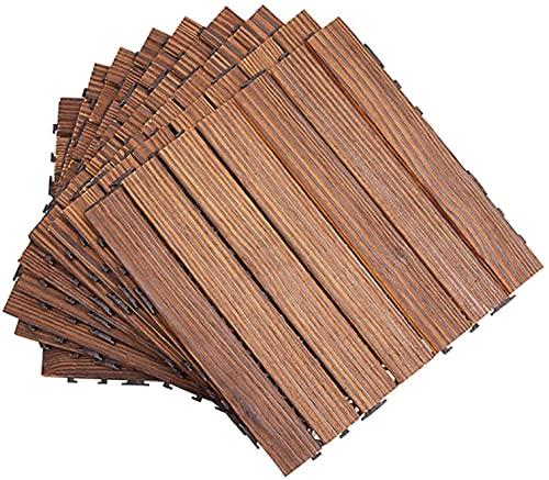 Baldosas de Madera Terraza Baldosas 9 Piezas entrelazadas baldosas de terraza para Patio Suelo de Madera Suelo al Aire Libre Empalme DIY Impermeable anticorrosión para Porche Patio Trasero GCSQF21071