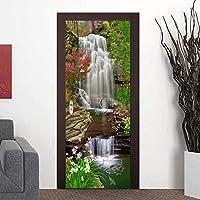 家の装飾デカール 美しい3D滝風景ドアステッカー防水壁紙3D壁画ドアデカール