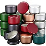 Candle Containers 2.1 x 1.5 Inch Tin Aluminum Candle Tin Cans Metal Round Cans with Slip-On Lid for Crafts DIY Candle Making Storage Arts