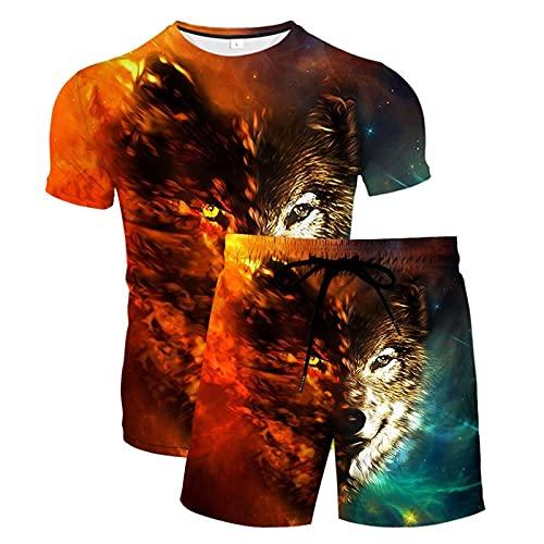 Verano Unisex 3D Camiseta Estampada Divertida Camisetas de Manga Corta y Pantalones Cortos de Natación Troncos de Playa Pantalones de Gimnasio de Surf con Cordón para Vacaciones(Naranja,3XL)