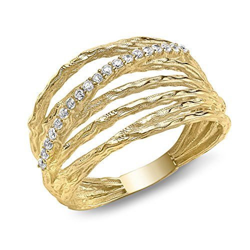 Carissima Gold Damen-Ring Diamond Cut 5 Band Crossover - Size L 375 Gelbgold Gr. 52 (16.6) - 1.48.8580