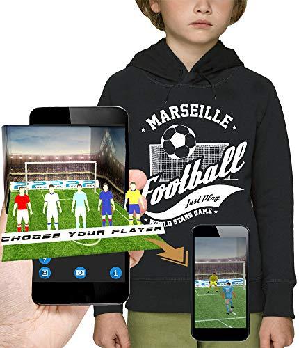 PIXEL EVOLUTION 3D animierte Kapuzenpullover Football Marseille in Augmented Reality - Kind - größe 12 Jahre - Schwarz