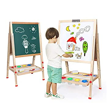Kids Art Easel,Whiteboard and Chalkboard Easel for Kids 0.8 Inch Thick Wood Frame and Adjustable Height All Accessories Include