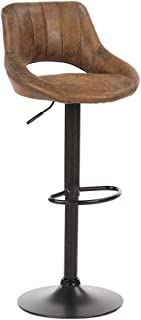 Suede Leather Adjustable Swivel Bar Stool with Back Support Dining Chairs High Stool,Vintage Rotating Bar stools Dining Chairs (Black),BROWN2