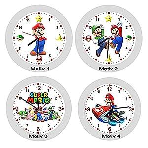 ✿ Kinderwanduhr in 4 Farben ✿ Mario Luigi Rennauto ✿ Wanduhr ✿ KEIN TICKEN ✿ mit/ohne Name
