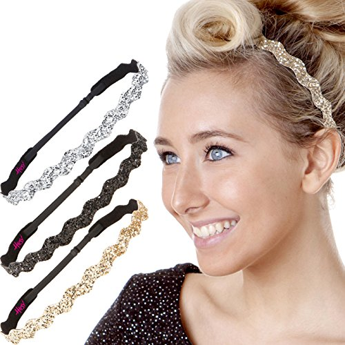Hipsy Women's Adjustable Non Slip Wave Bling Glitter Headband Silver Duo Pack (Black/Gold/Silver)