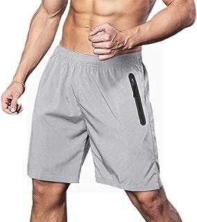 FASKUNOIE Men's Workout Gym Shorts Quick Dry Running Shorts with Reflective Zipper Pockets