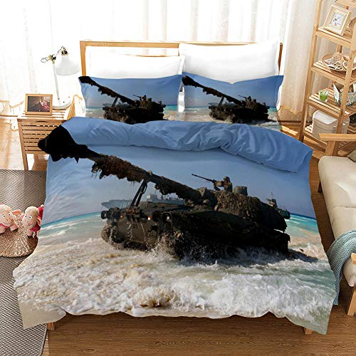 NHBTGH Printed Duvet Cover Single Size Blue Polyester Bedding Set with Zipper Closure Quilt Cover Set+2 Pillowcases Easy Care Anti-Allergic Soft & Smooth Apply to Boy Girl Bedroom Tank