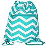 World Traveler 15 Inch Drawstring Backpack Bag, Light Blue White Chevron, One Size