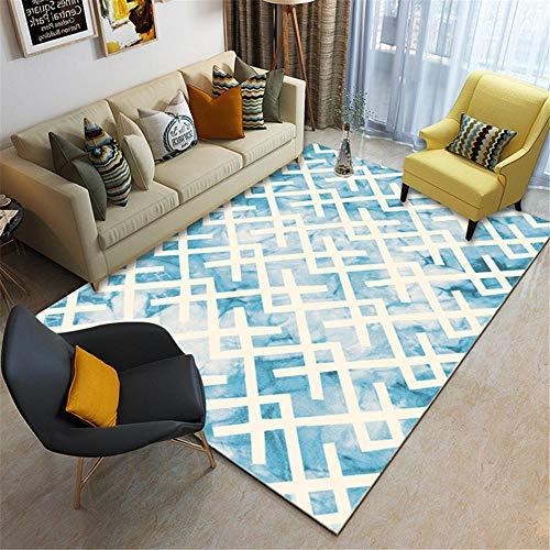 Kunsen alfombras en Rollo alfombras pie de Cama Alfombra Corta Beige Azul Sala de Estar Decorativa Antideslizante cojín meditación 160X200CM 5ft 3' X6ft 6.7'
