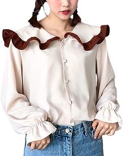 [NYGG] レディース シャツ ブラウス 長袖 可愛い 無地 スカラップ シンプル フリル きれいめ デザイン カットソー 着痩せ ファッション 普段着
