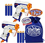 NERF N-Strike Elite Triad EX-3 Blasters Gift Set Battle Bundle with Bonus Matty's Toy Stop Storage Bag - 2 Pack