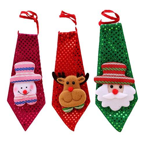 Amosfun 3 Pezzi Natale Cravatta LED Uomo Paillettes Cravatta con Luce Pupazzo di Neve Renna Babbo Natale Costume per Uomo Donna Costume di Natale