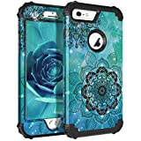 Lontect Compatible iPhone 6s Plus Case 6 Plus Case Floral 3 in 1 Heavy Duty...