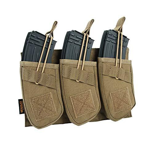EXCELLENT ELITE SPANKER Tactical Open Top Magazine Single/Double/Triple AK Mag Pouch(Triple-Coyote Brown)