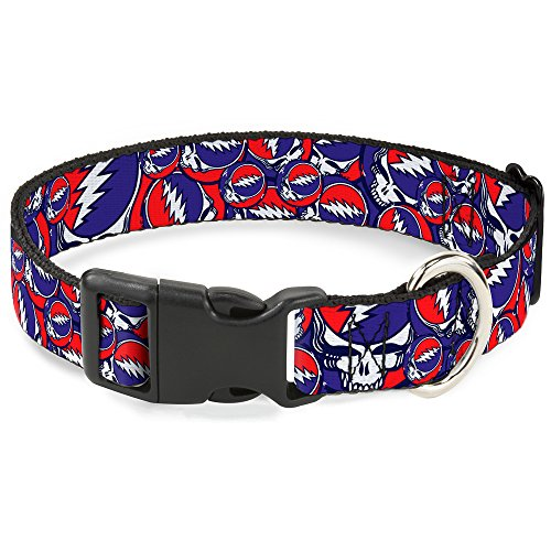 Buckle-Down Plastic Clip Collar - Steal Your Face Stacked Red/White/Blue - 1' Wide - Fits 15-26' Neck - Large