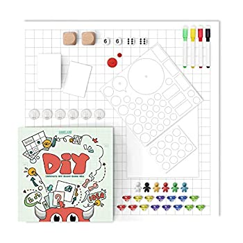DIY Board Game Kit Blank Board Game and Pieces DIY Set with Game Pieces Blank Cards Blank Spinner & Dice and Storage Box - The Best Choice for Kids and Adults to Create Board Game!