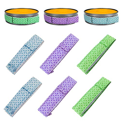 6 PCS Bake Even Cake Strips, Global-store Cake Pan Dampen Strips, Cake Pan Strips, Super Absorbent Thick Cotton (2 Purple + 2 Blue + 2 Green)