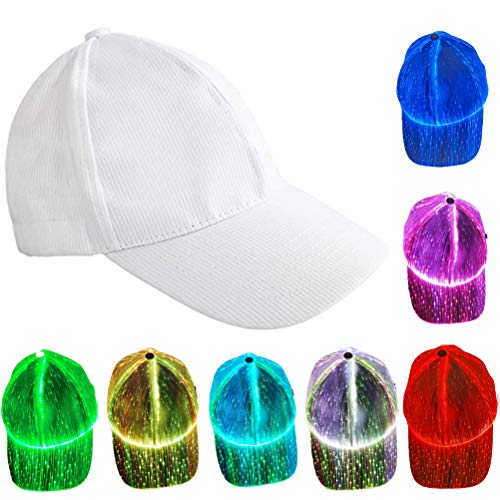 Gorra de béisbol con luz LED, Gorra Luminosa LED de Cambio de Color de Halloween Gorra de Fibra óptica de Navidad Gorra de béisbol LED Gorra de Hip Hop 7 Colores Glow Hat para Fiesta de Club