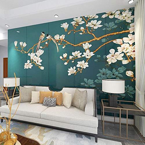 Carta da parati 3D con motivi floreali e uccelli, murale con sfondo TV, camera da letto, soggiorno, murale personalizzato-400cmx280cm