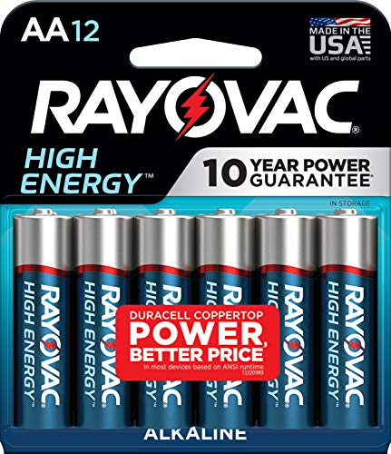 RAYOVAC AA 12-Pack HIGH ENERGY Alkaline Batteries, 815-12K