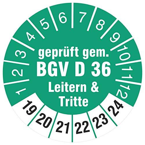 10 Stück Prüfplaketten 18 mm geprüft gemäß BGV D36 Leitern und Tritte Prüfetiketten 2019-2024 Rollenware stark haftend