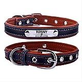 LYFSTCollare per Cane Regolabile Personalizzato Collare per Cani in Pelle XS 22-28cm Marrone