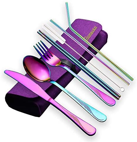 HOMQUEN Portable Utensils,Travel Camping Flatware Set,Stainless Steel Silverware Set,Include Knive/Fork/Spoon/Chopsticks/Straws/Brush/Portable Case(Silver-8 Piece)