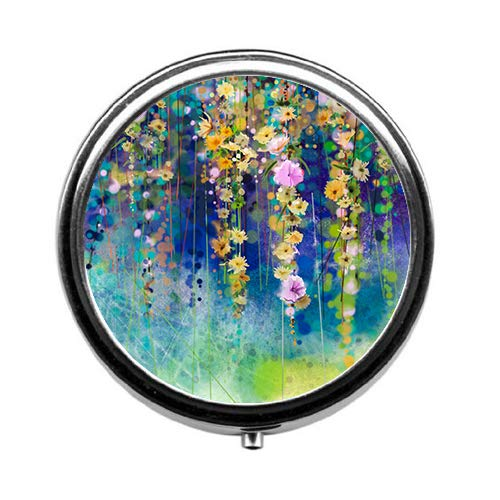 Qien BaiSei Abstract Watercolor Flowers Pill Box/Pill Case-Round Pill Box/Case- Three-Compartment Pill Box/Pill Case