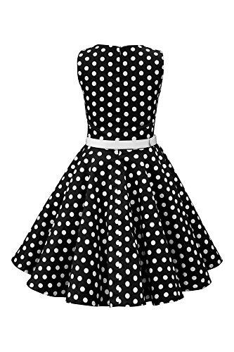 BlackButterfly Kinder 'Audrey' Vintage Polka-Dots Kleid im 50er-J-Stil (Schwarz, 9-10 J) - 2