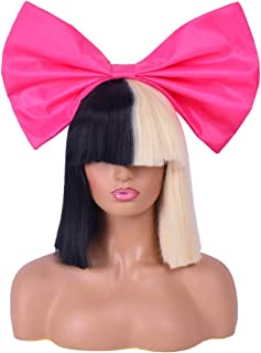 Officially Licensed Sia Costume Cosplay Wig Half Blonde Black 2 Tone Color Short Straight Bob Wig Synthetic Full Wigs with Big Hot Pink Bow Sia Style Wigs for Women Girls