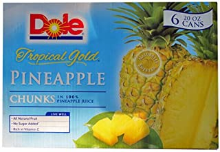 Dole Pineapple Chunks - 6 cans of 20oz