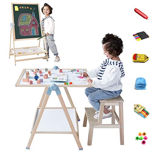 Kids Art Easel, QZM Deluxe Standing Easel Set, Adjustable Art Table, Magnetic Dry Erase Board&Chalkboard Double Sided Stand, 360°Rotating Drawing Easels with 33pcs Art Supplies, Adjust Height28-49inch