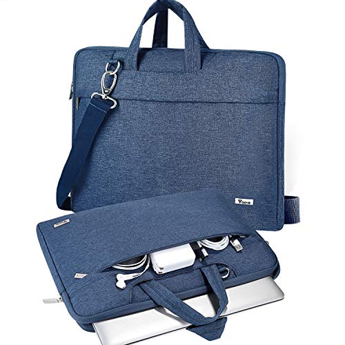 V Voova Laptop Bag Sleeve 14 15 15.6 inch with Shoulder Strap,Slim Computer Carrying Case Cover Compatible with MacBook Pro 16,HP 15.6,Dell Inspiron 15 3000,Acer Chromebook 14,2021 Asus Rog,Blue
